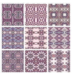 Set of pink different seamless colored vintage vector