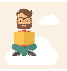 Businessman reading book vector