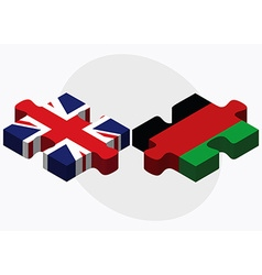 United Kingdom and Afghanistan Flags in puzzle vector image