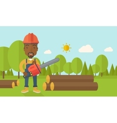 Black lumberjack cuts a tree by chainsaw vector