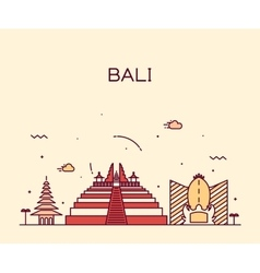 Bali skyline trendy linear vector