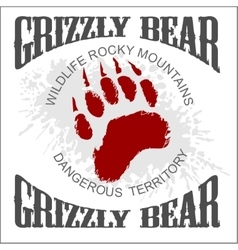 Grizzly bear footprint emblem - vector