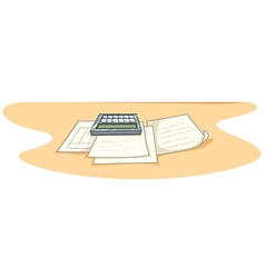Documents and calculator on desk vector