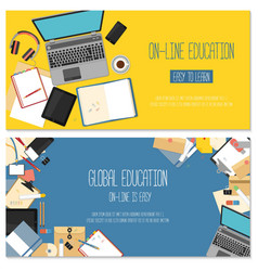 Web banner concept for online education vector