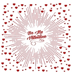 Be my valentine starburst background vector