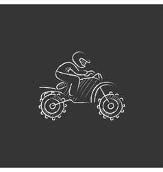 Man riding motocross bike drawn in chalk icon vector