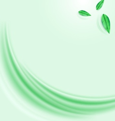 Abstract green wave and leaves background vector