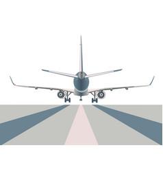 Airliner over runway vector