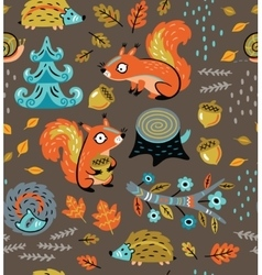 Autumn seamless pattern with squirrels leaves vector