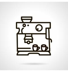 Black line coffee machine icon vector