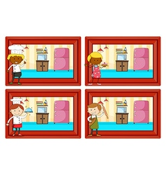Chef and bakers in the kitchen vector