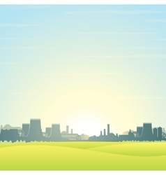 Eco friendly nuclear plant landscape vector