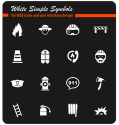 Fire brigade icon set vector