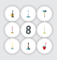 flat icon cleaner set of besom bucket cleaning vector image