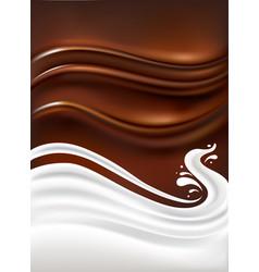 fresh milk splash on chocolate background vector image