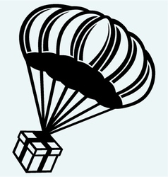 Gift box parachute falling from the sky vector image vector image