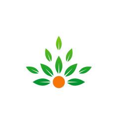 Green leaf organic beauty logo vector