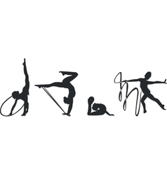 Gymnast silhouette set black 02 vector image