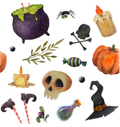 Halloween scary elements seamless watercolor vector