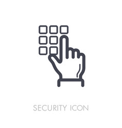 Hand finger entering pin code solid icon vector