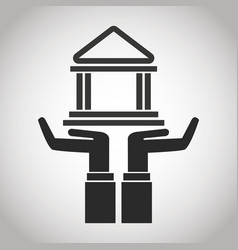 Hand holding bank building banking pictogram vector