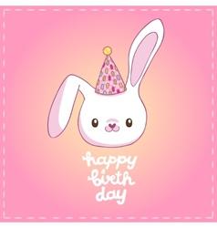 Happy Birthday card with a bunny vector image