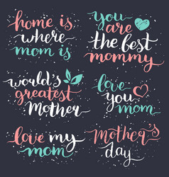 happy mothers day hand lettering set for greeting vector image
