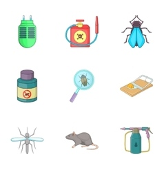 Home pest control service icons set cartoon style vector