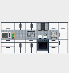 Kitchen interior with furniture including vector