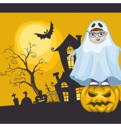 Little Ghost And Pumpkin Halloween Background vector image