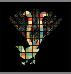 Lyrebird bird mosaic color silhouette animal vector