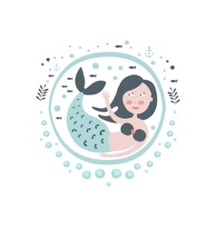 Mermaid fairy tale character girly sticker in vector