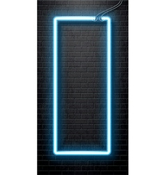 neon blue banner isolated on black brick wall vector image