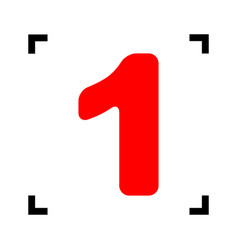 Number 1 sign design template element red vector