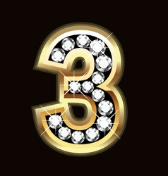 Number three bling gold and diamonds vector image vector image