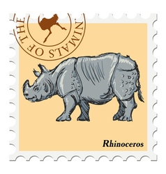 Post stamp with rhinoceros vector