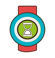Red and blue watch with media icon on the screen vector
