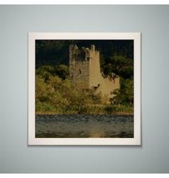 Retro photo frame with castle vector