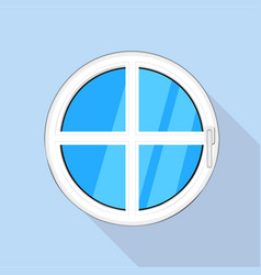 round plastic window icon flat style vector image vector image