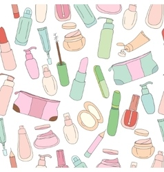 Seamless pattern with cosmetics creams lotions vector image vector image