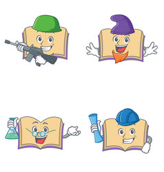 Set of open book character with army elf professor vector