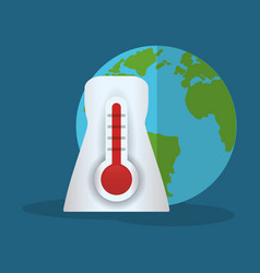 Thermometer globe weather hot vector