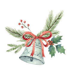 Watercolor christmas bouquet with bell and vector