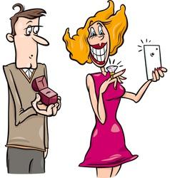 Woman doing proposal selfie cartoon vector