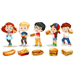 Boys and girls eating fastfood vector image