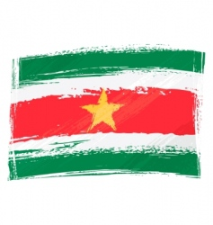 grunge Suriname flag vector image