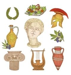 Greece In Color Icon Set vector image