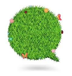 Speech bubble green grass texture background vector image