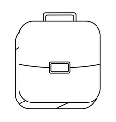 Square silhouette button with briefcase vector