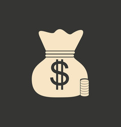 flat in black and white bag of money vector image